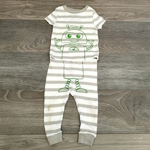 Gray and White Striped Robot PJs